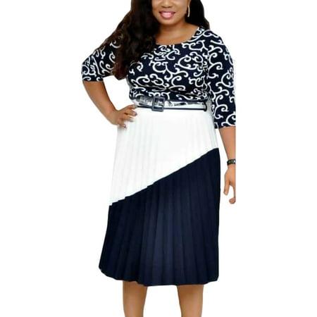Women Summer Tunic Dress Ladies Splice Half Sleeve Pleated Hem A-Line Dress Plus Size L-3XL