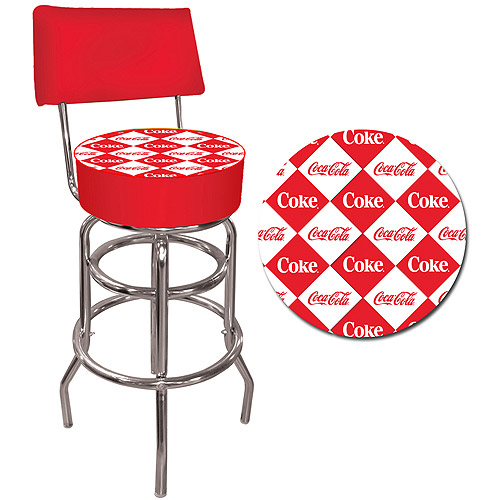 "Trademark Red Checker Coca-Cola 40"" Pub Stool with Back, Chrome"