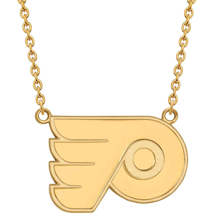 LogoArt NHL Philadelphia Flyers 14kt Gold-Plated Sterling Silver Large Pendant with Necklace
