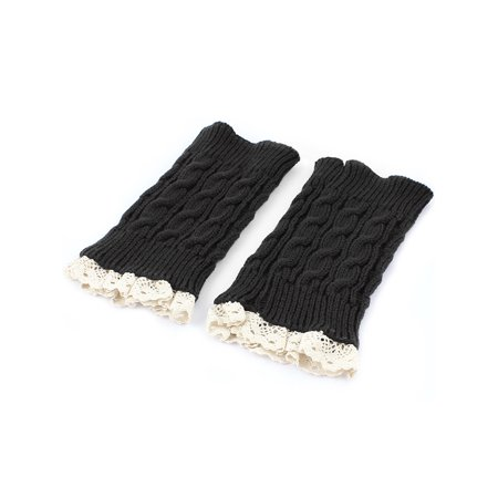 Lady Winter Lace Trim Knitted Crochet Leg Warmers Boot Cuff Pair