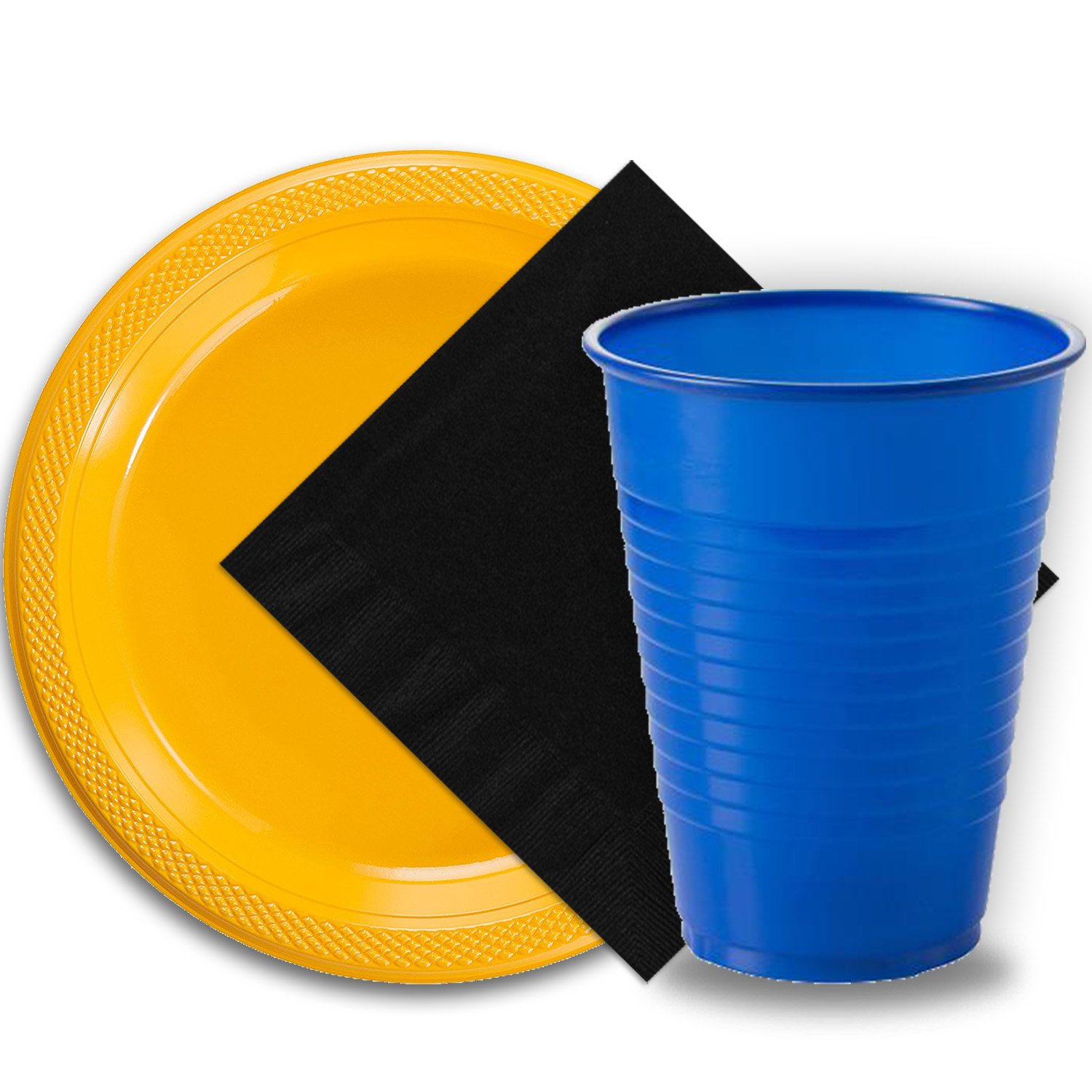 "50 Yellow Plastic Plates (9""), 50 Dark Blue Plastic Cups (12 oz.), and 50 Black Paper Napkins, Dazzelling Colored Disposable Party Supplies Tableware Set for Fifty Guests."
