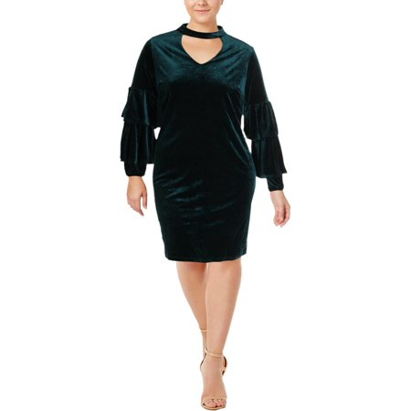 NY Collection Womens Plus Velvet Choker Midi Dress (Plus Size Velvet Veil)