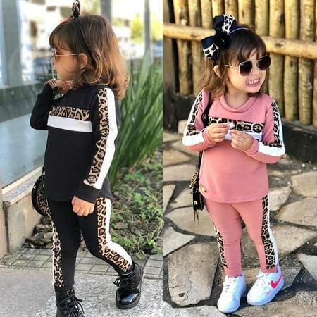 2Pcs Toddler Kids Girl Leopard Long Sleeve Tops Heart T-Shirt Leggings Pants Tracksuit Sweatsuit Outfits Clothes Set
