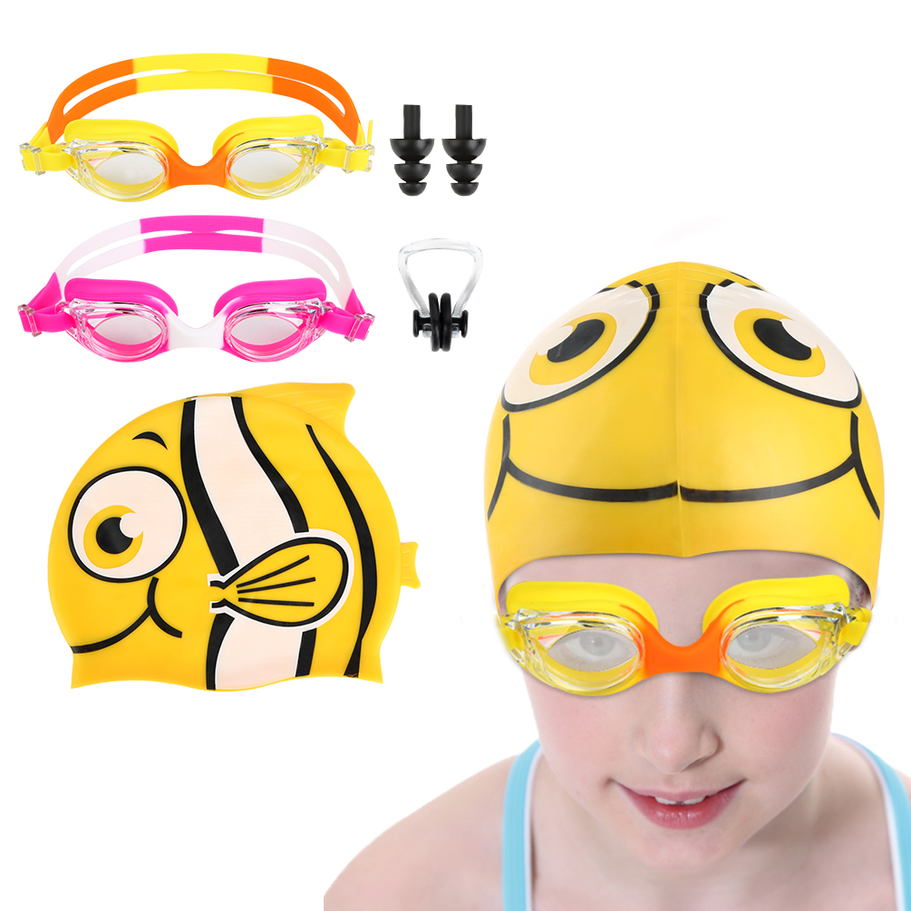 Vbiger Kids Leakproof Silicone Frame Swim Goggles Anti Fog Swimming Goggles with Swim Cap, Nose Clip and Ear Plugs,... by
