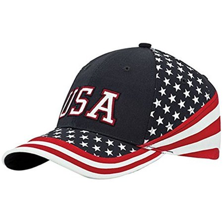 Red White & Blue Cotton Twill Stars & Stripes USA Flag Baseball Cap Hat (Stars Stripes Caps)