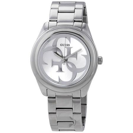 Guess White Dial Watch - Guess G-Twist Silver Dial Ladies Watch W1082L1