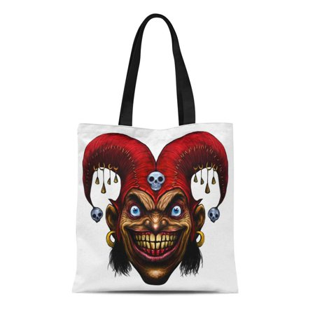Angry Clown Face (KDAGR Canvas Tote Bag Smile Laughing Angry Joker Character Head Clown Crazy Face Durable Reusable Shopping Shoulder Grocery)