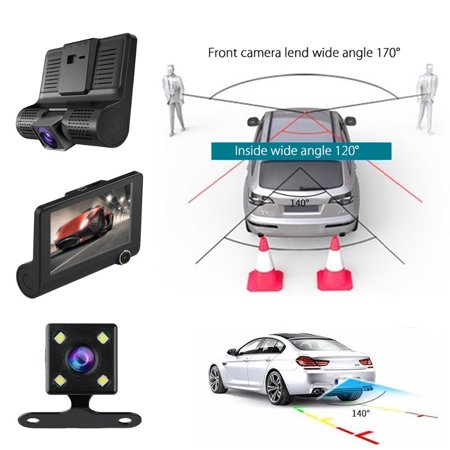 Car DVR Camera 4.0in 3 Way Lens Video Driving Recorder Rear View Auto Registrator With 2 Cameras Dash Cam DVRS Carcorder Night Vision Parking Monitor - image 7 of 7