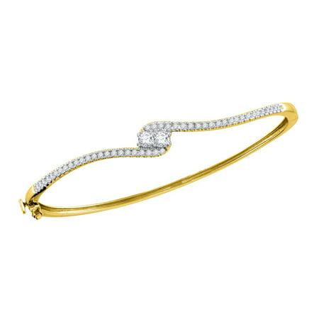 White Gold Round Diamond Bangle (14kt Yellow Gold Womens Round Diamond 2-stone Bypass Bangle Bracelet 3/4 Cttw)