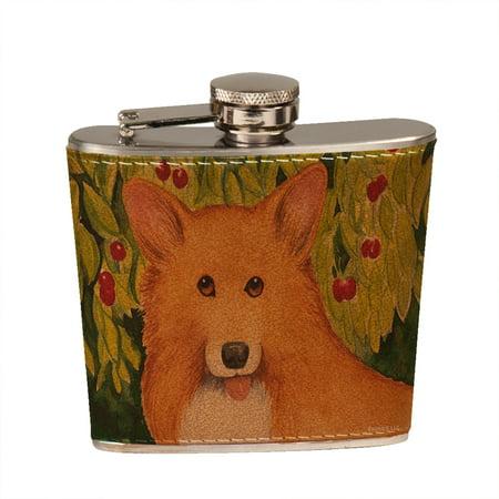 - KuzmarK 6 oz. Leather Flask Set in Black Presentation Box -  Welsh Corgi with Cherries Art by Denise Every