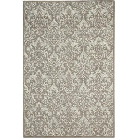 nourison damask ivory gray area rug