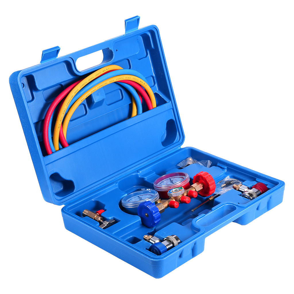 with 3FT Hose Quick Coupler JIFETOR 3 Way AC Manifold Gauge Set Can Tap ACME Adapter and Valve Core Tool Kit HVAC Diagnostic Freon Charging Tool for Auto Household R12 R22 R404A R134A Refrigerant