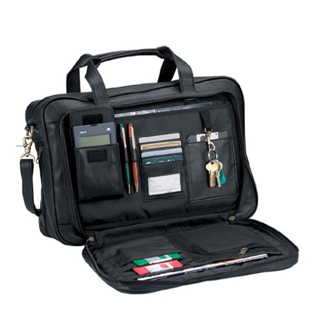 Royce Leather 642-BLACK-3 Expandable Briefcase - Black