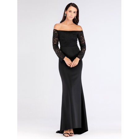 093205aff674 Ever-Pretty - Ever-Pretty Women's Floral Lace Off Shoulder Black Long Evening  Night Gown Party Cocktail Dresses for Women 07611 S - Walmart.com