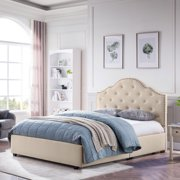Gentry Contemporary Button-Tufted Upholstered Queen Bed Frame with Nailhead Accents, Beige