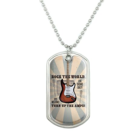 Rock The World Guitar Turn Up Amps Military Dog Tag Pendant Necklace with Chain Rocks Dog Tag