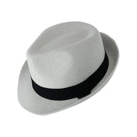 Paper Straw Fedora with Black Band](White Fedora Black Band)