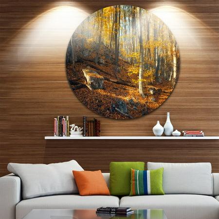 Leaf Design Wall Grille - DESIGN ART Designart 'Crimean Mountains Yellow Leaves' Landscape Photo Disc Metal Wall Art