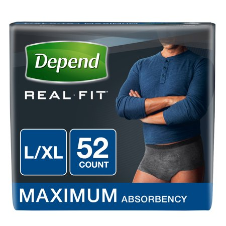 Depend Real Fit Incontinence Briefs for Men, Maximum Absorbency, L/XL, 52 Ct ()