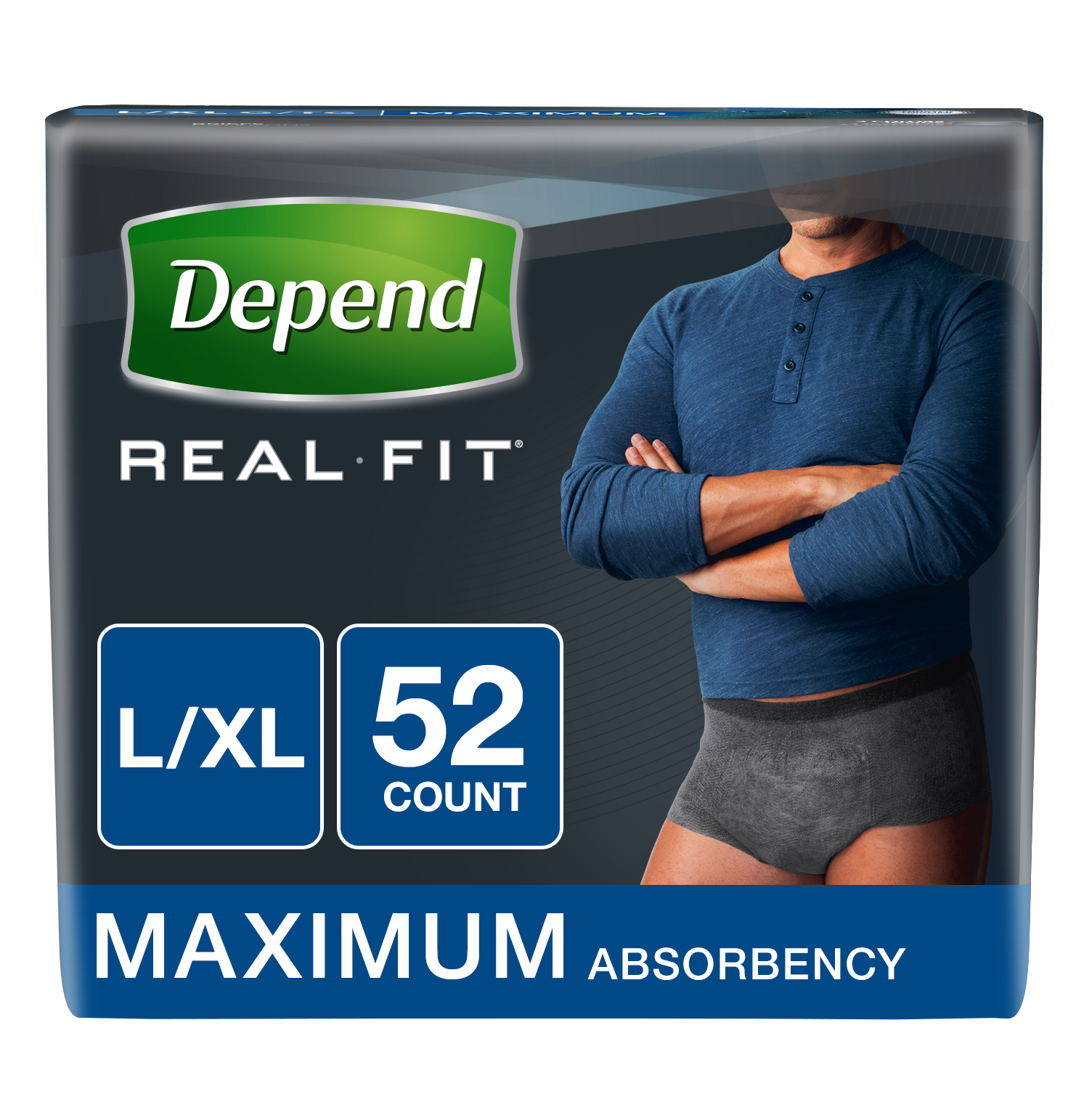 Depend Real Fit Incontinence Briefs for Men, Maximum Absorbency, L/XL, Black, 52 count