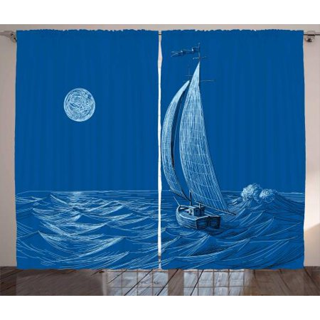 Vintage Boat Curtains 2 Panels Set, Ship Sailing to the Ocean Moonlight Wavy Misty Night Artistic Ocean Scenery, Window Drapes for Living Room Bedroom, 108W X 84L Inches, Cobalt Blue, - Cobalt Blue Curtains
