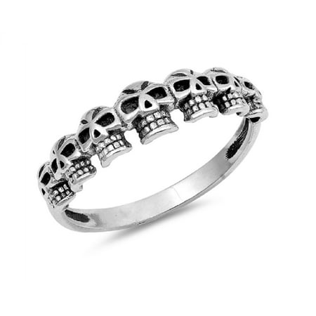 Sterling Silver Half Way Skulls Band Ring - Plastic Skull Rings