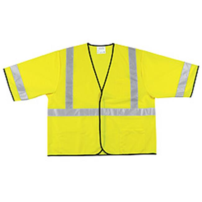 River City 611-VCL3SLL Class III Polyester Fluorescent Lime Safety Vest - image 1 de 1