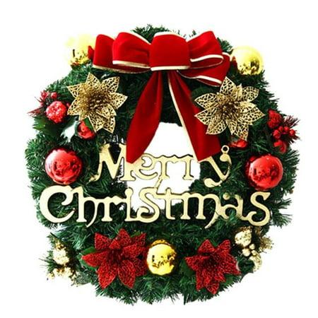 matoen Merry Christmas Party Poinsettia Pine Wreath Door Wall Garland Decoration ()