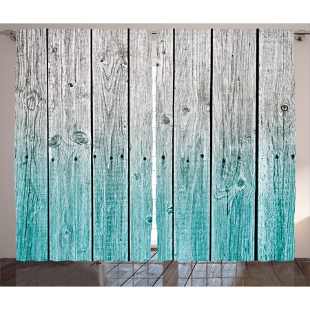 Rustic Curtains 2 Panels Set, Wood Panels Background with Digital Tones Effect Country House Image, Window Drapes for Living Room Bedroom, 108W X 90L Inches, Light Blue and Grey, by Ambesonne ()