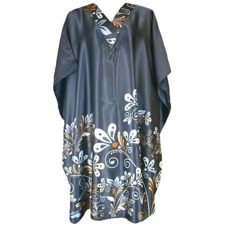 - Up2date Fashion's Women's Short Caftan / Kaftan / Muumuu / Mumu, Midnight Dream Floral Vine Print in Black