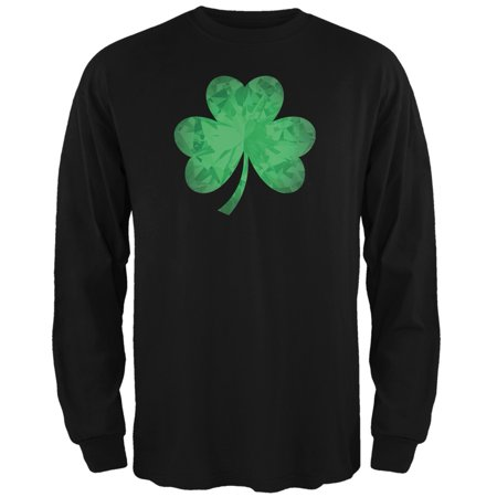 St. Patricks Day - Jeweled Shamrock Black Adult Long Sleeve - Irish St Patrick's Day Sayings