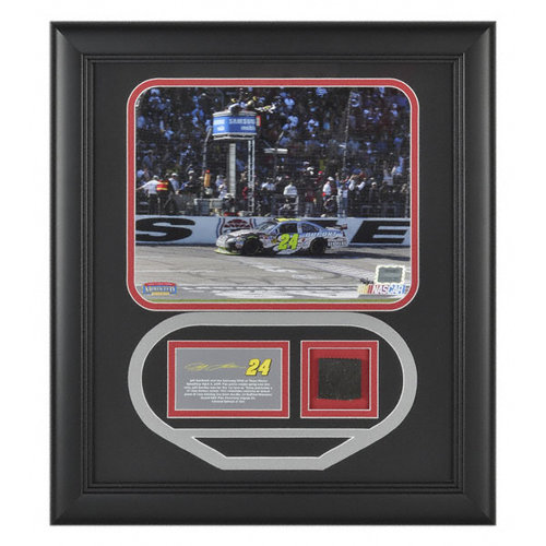 Jeff Gordon 2009 Samsung 500 Texas Motor Speedway Framed 8x10 Photograph with Texas Track Cut Out and Race Winning Tire