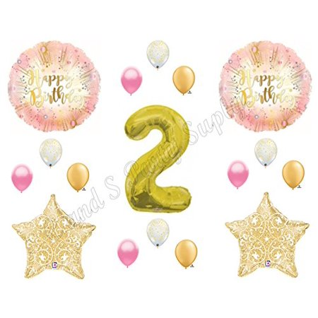 Two Much Fun 2ND Second Pink & Gold Birthday Party Balloons Decoration Supplies