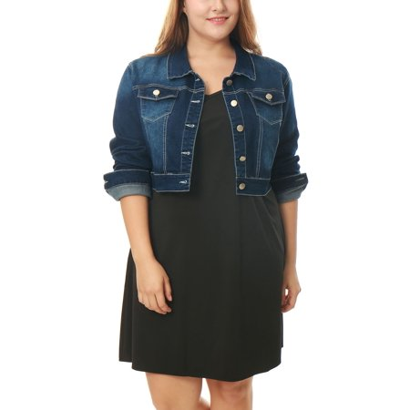 Women's Plus Size Button Closure Cropped Denim Jacket