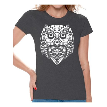 Animal With Womens (Awkward Styles Beautiful Owl T-Shirt for Women Patterned Shirts for Ladies Women Fashion Collection Tracery Tshirt for Mom Indian Pattern T-Shirt for Her Gifts for Wife Owl Shirts Animal)