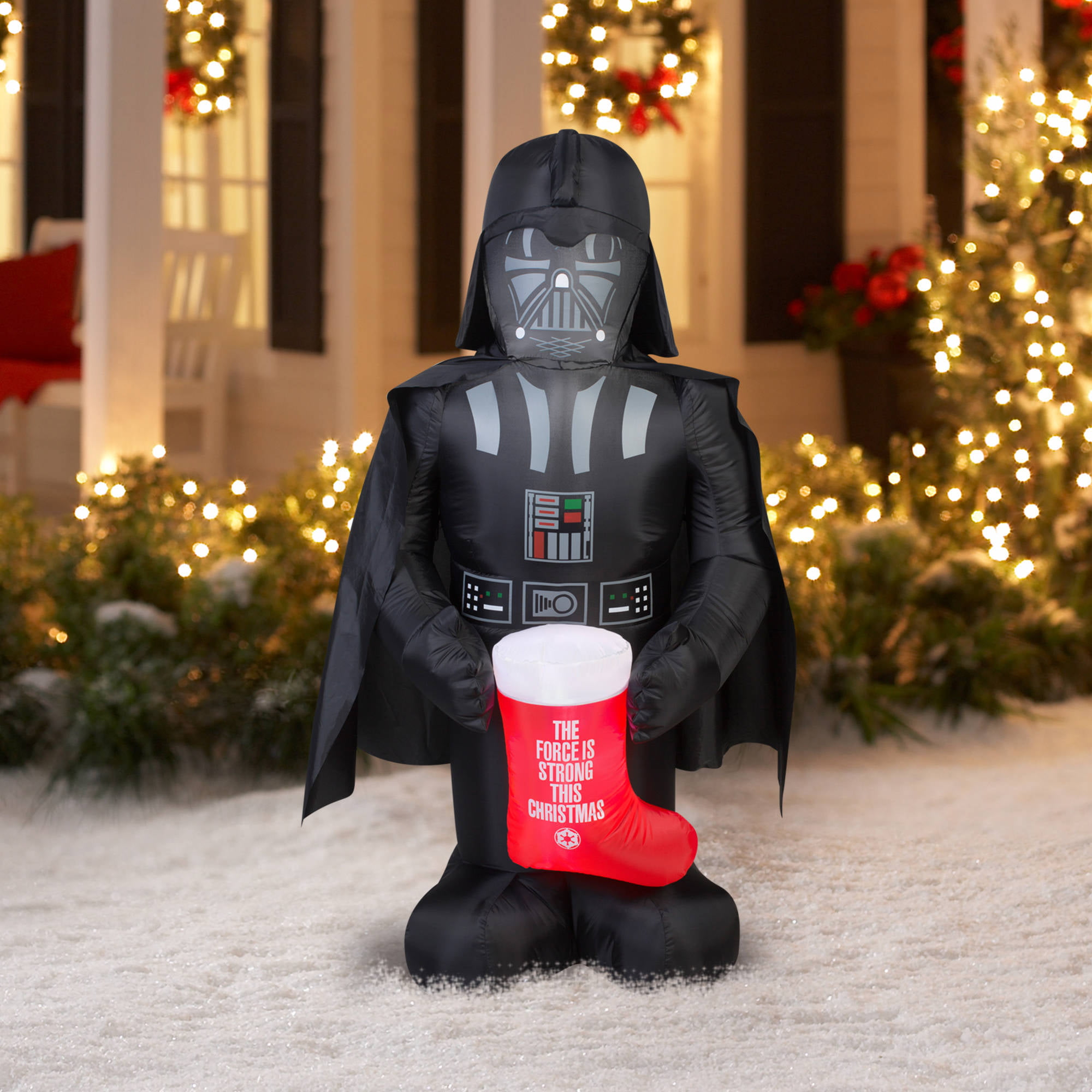 5 airblown inflatable darth vader with stocking star wars christmas inflatable walmartcom - Star Wars Blow Up Christmas Decorations