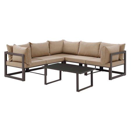 Fortuna 6pc Outdoor Patio Sectional Sofa Set - Mocha - Modway