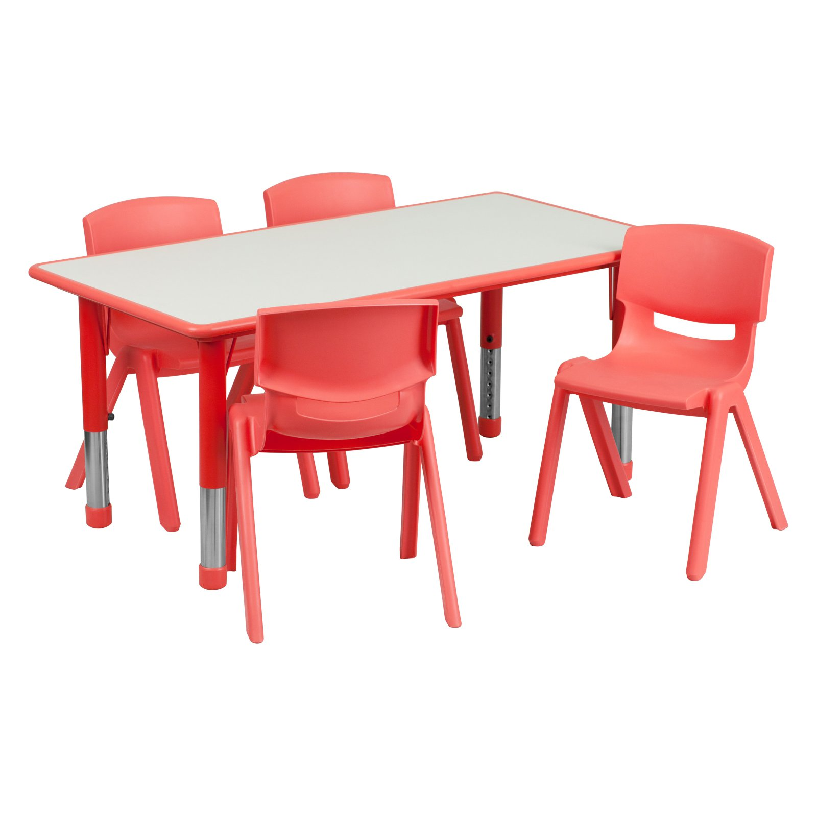 Flash Furniture 23.625''W x 47.25''L Adjustable Rectangular Plastic Activity Table Set in Multiple Colors with 4 School Stack Chairs, Grey