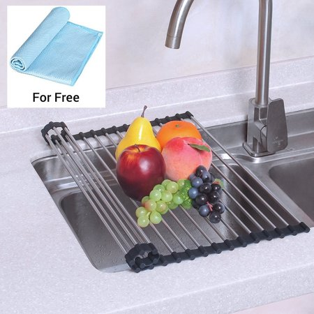 NEX Over the Sink Silicone Dish Drying Rack, Roll-Up Dish Drainer for Kitchen, Drying Mat (NX-D001)