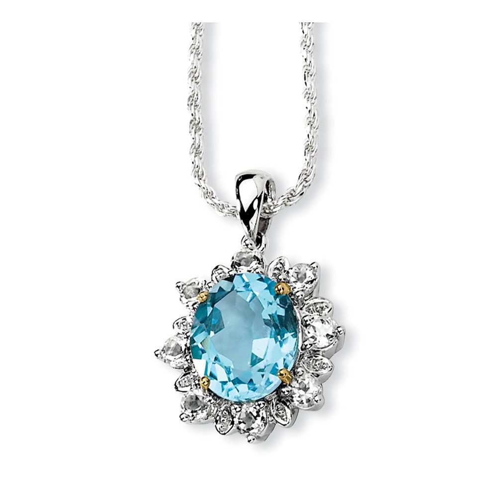 Sterling Silver 14K Yellow Gold 18in Sky Blue White Topaz Necklace 7.12ct