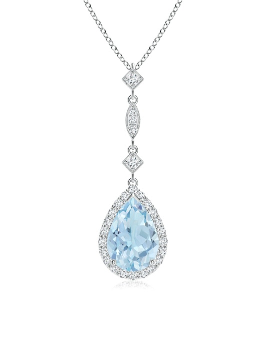 March Birthstone Pendant Necklaces Pear Shaped Aquamarine Teardrop Pendant with Diamond Accents in 950 Platinum (9x6mm... by Angara.com