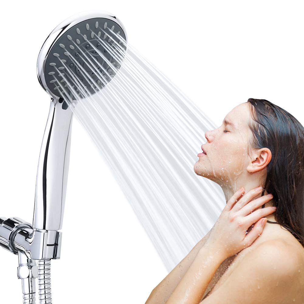 High Pressure Handheld Shower Head 5 Function Chrome Finish with Spa Spray Mode