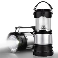 2-in-1 Solar Lantern Rechargeable Flashlight Collapsible LED Lantern for Camping, Hiking, Emergency, Survival, Hurricane, Storm, Outages