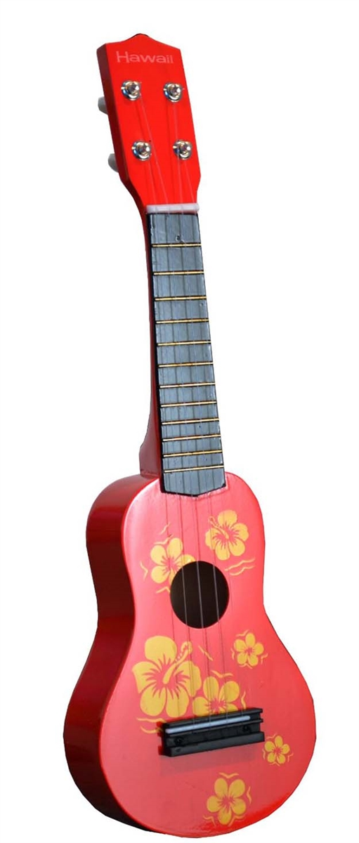 Toy Ukulele 4 string Hawaiian Theme Uke Guitar for Kids Red by