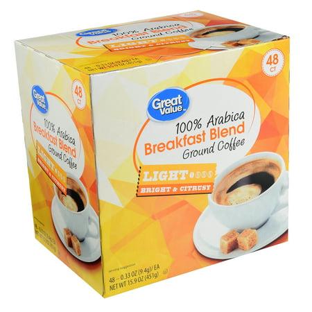 Great Value Breakfast Blend Ground Coffee K-Cup Packs, Medium Roast, 48 Count