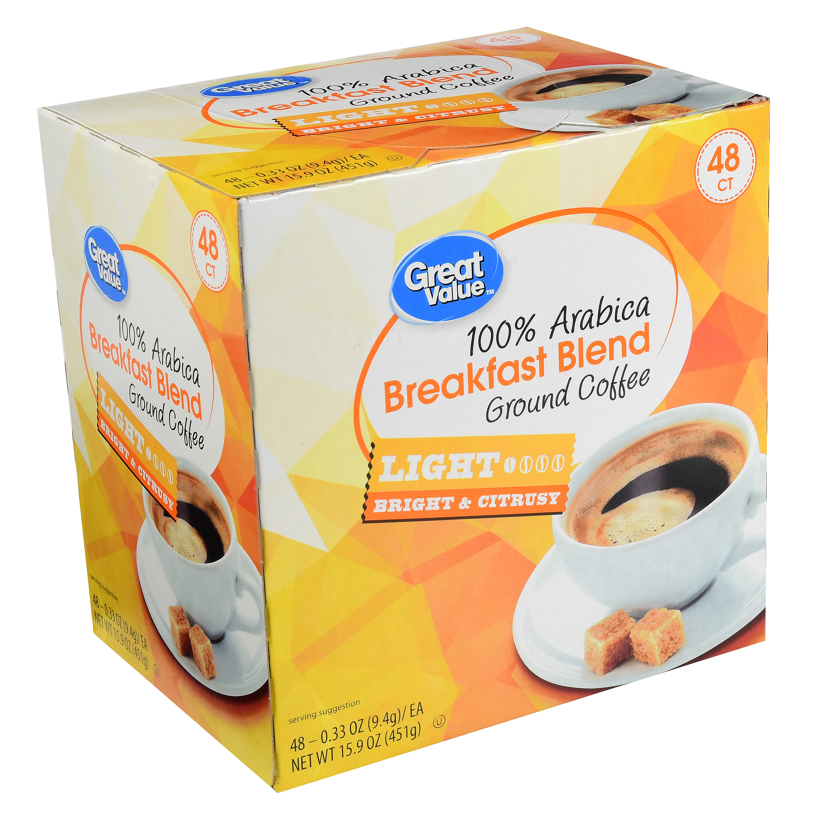 Great Value Breakfast Blend Ground Coffee Single Serve Cups, Medium Roast, 48 Count
