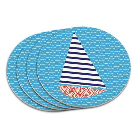 Sailboat Nautical Theme Wedding Bon Voyage Coaster Set