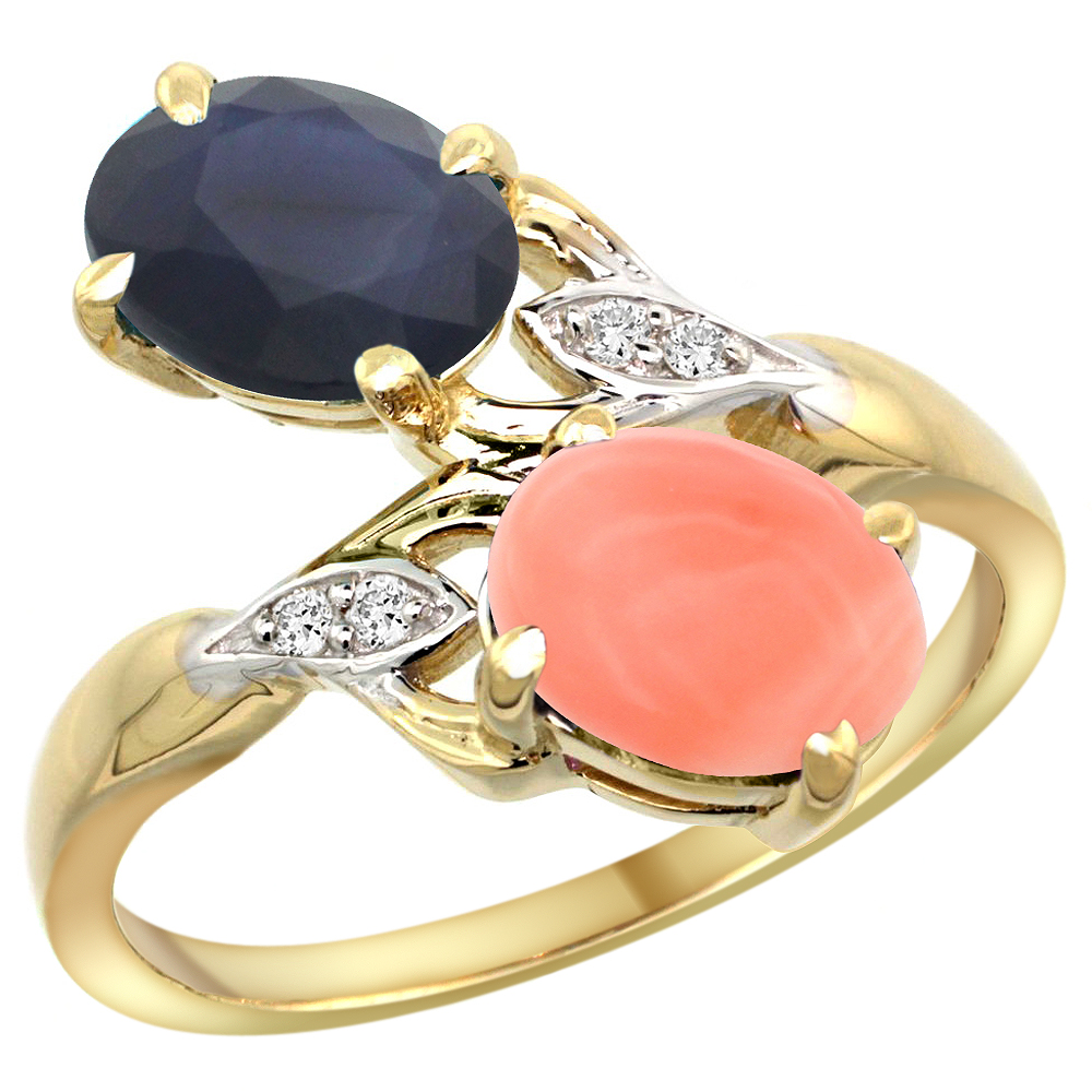 10K Yellow Gold Diamond Natural HQ Blue Sapphire & Coral 2-stone Ring Oval 8x6mm, sizes 5 10 by WorldJewels
