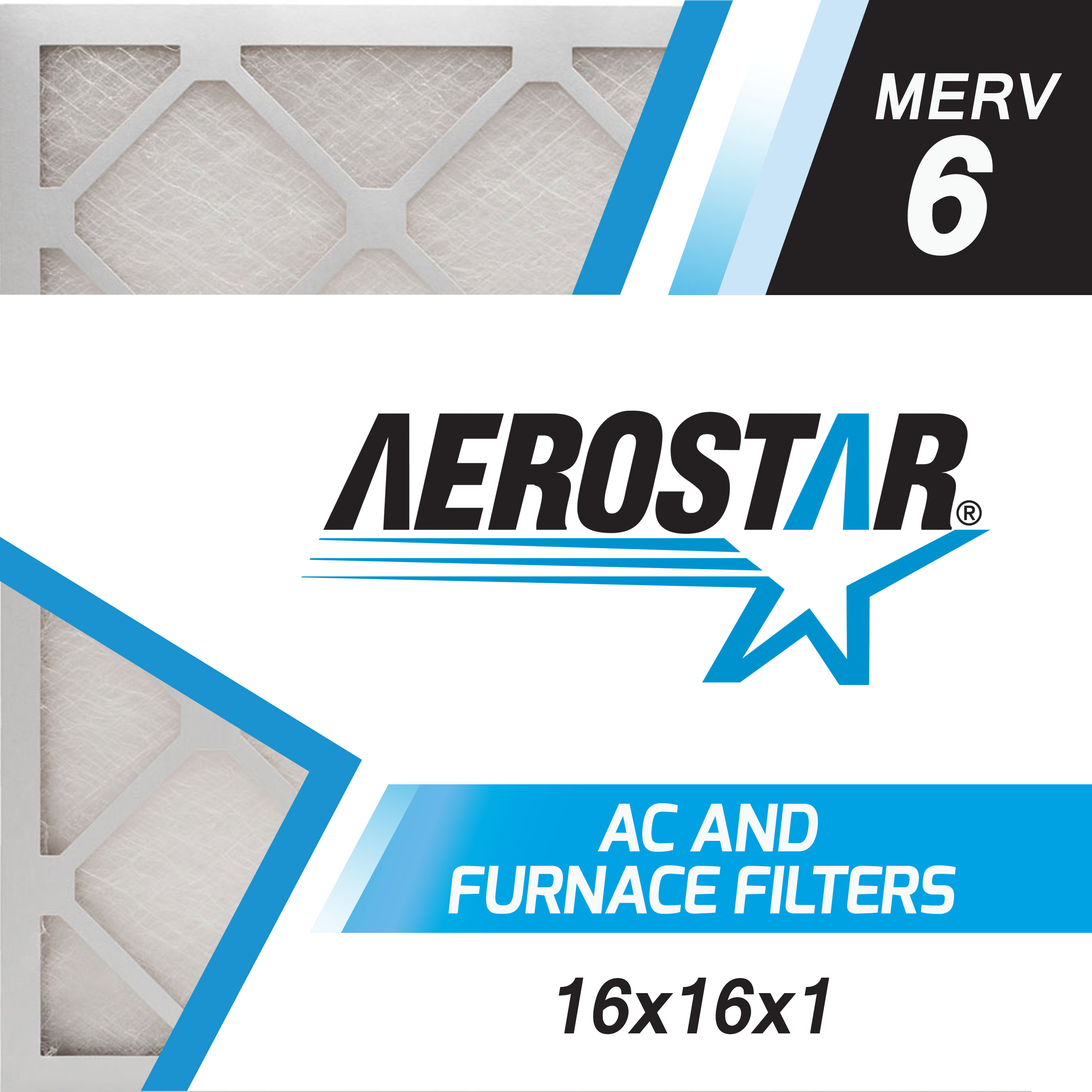16x16x1 AC and Furnace Air Filter by Aerostar - MERV 6, Box of 6