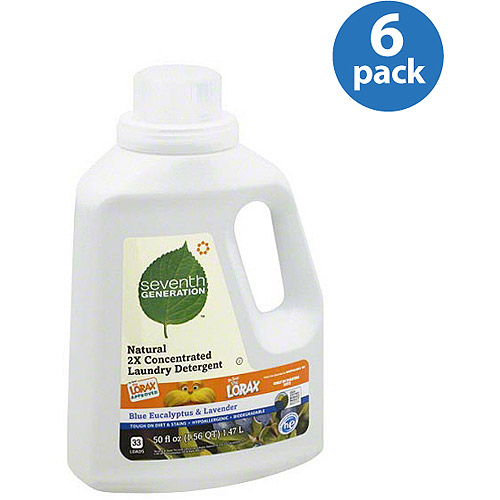 Seventh Generation Blue Eucalyptus & Lavender Natural 2X Concentrated Liquid Laundry Detergent, 50 fl oz, (Pack of 6)